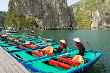 Tourist boat parking at the Halong Bay, Vietnam