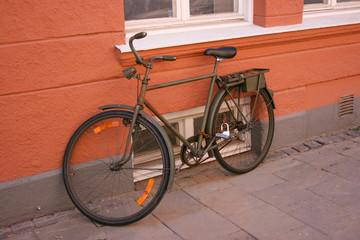 Old khaki military style bike.