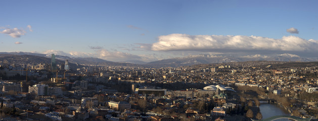 The panoramic view of Tbilisi with view of mountains