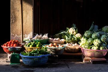Fresh vegetable on local street market in Hanoi