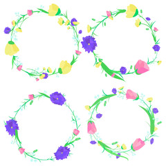 vector illustration set of wreaths of flowers on a white background