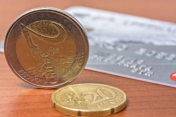 Euro coin and bank card