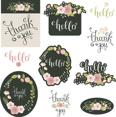 Floral hand drawn lettering Hello and Thank You