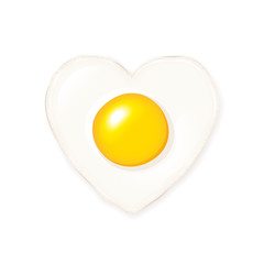 Delicious shiny heart shaped fried egg vector icon on white background