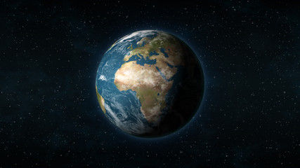 Realistic Earth centered on the African and European continent, with stars in the background