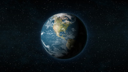 Realistic Earth centered on the North American continent, with stars in the background