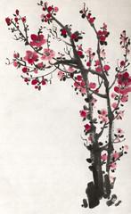bright red plum branch