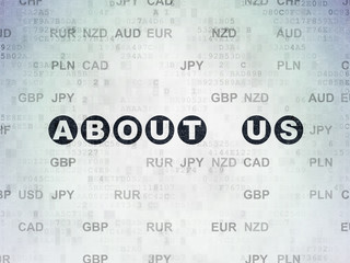 Business concept: About us on Digital Data Paper background