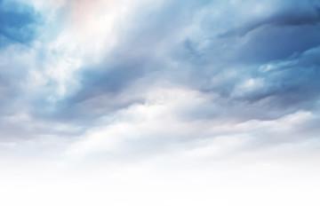 cielo con nubes y espacio libre en blanco