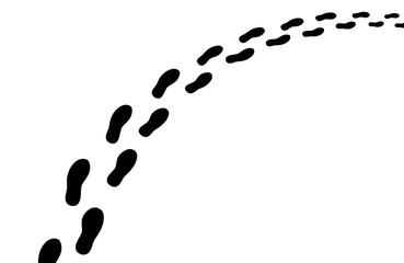 Perspektivische Fußspur / Vektor, schwarz-weiß, freigestellt