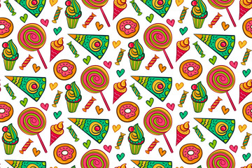 Sweet desserts vector seamless pattern. Endless background with lollipop, candy, ice cream, cupcake, donut, cake, heart.