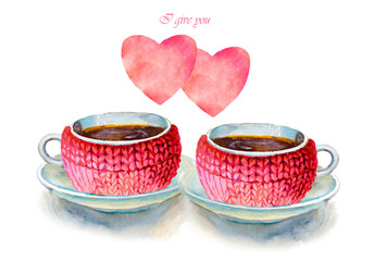 Party colorful tea cups and saucers with hearts closeup. Sketch handmade. Postcard for Valentine's Day. Watercolor illustration.