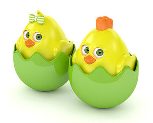 3d render of Easter chicks in eggshells