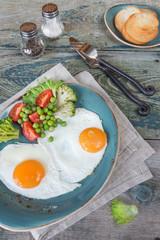 Aluminium Prints Egg Fried eggs and vegetables