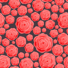 Seamless vintage pink Rose Pattern, raster background.  Floral illustration in vintage style