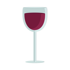 A glass of wine in the style of flat. The icon for the app. Vector illustration.
