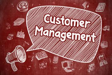Customer Management - Doodle Illustration on Red Chalkboard.