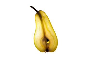 Sliced pear on white backlight background
