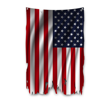 Torn by the wind national flag of USA. Ragged. The wavy fabric on white background. Realistic vector illustration.
