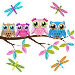 Four owls on a branch with dragonflies