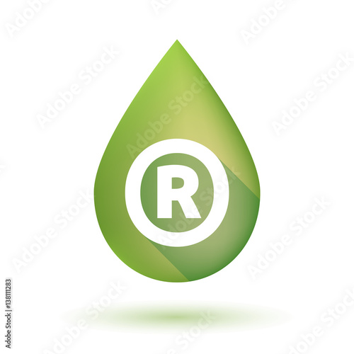 Isolated Olive Oil Drop With The Registered Trademark Symbol Stock
