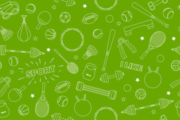 Sports Equipment pattern. Set of colorful sport balls and gaming items at a green background. Subject of fitness, sport, healthy lifestyle tools, elements. Vector Illustration.