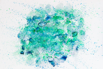 Trendy color concept. Watercolor abstract background painting with spray, spots, splashes. Hand drawn on paper grain texture. For modern pattern, wallpaper, banner design.