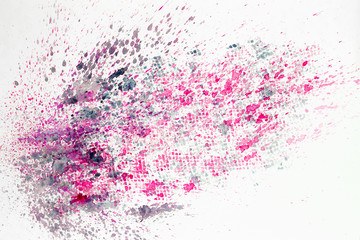 Abstract watercolor colorful background painting with spray, spots, splashes. Hand drawn on paper grain texture. For modern pattern, wallpaper, text design, template.