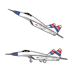 Vector illustration of a military aircraft with weapons in a static state and in flight on a white background