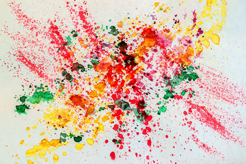 Abstract watercolor vivid colorful background painting with spray, spots, splashes. Hand drawn on paper grain texture. For modern pattern, wallpaper, text design, template.