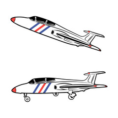 Vector illustration of a military aircraft in a static state and in flight on a white background