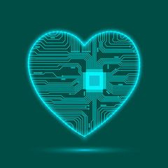 Abstract heart. Heart as an electronic chip. Vector illustration.