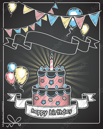 Happy Birthday Chalkboard Banner With Empty Text Space