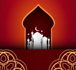 Eid Mubarak Arab holiday greeting card. Vector illustration