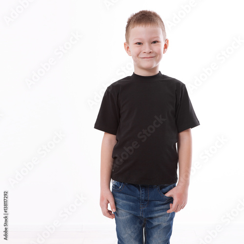 66617508 t-shirt design and people concept - close up of young man in blank black t- shirt, shirt front isolated.