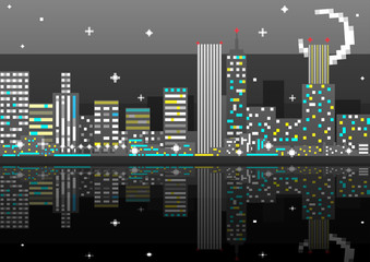 Pixel art night city card. Vector illustration
