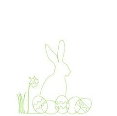 Umriss eines Osterhasen, mit Ostereiern und Narzisse