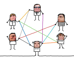 Cartoon people - social network and color lines