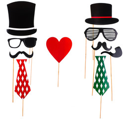 Paper props for holidays and parties.Wedding concept.Paper heart shape fake lips and mustaches
