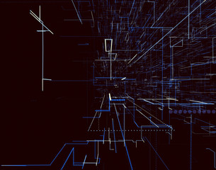 Digital futuristic cyber space tunnel, telecomunications concept background, digitally generated image.