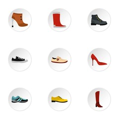 Footgear icons set, flat style
