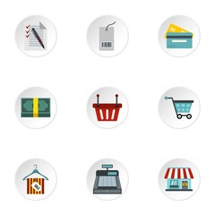 Online purchase icons set, flat style