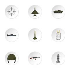 Military defense icons set, flat style