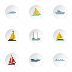 Ocean transport icons set, flat style