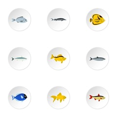 Ocean fish icons set, flat style