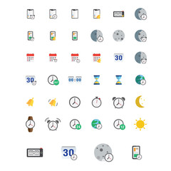 icons set. Vector illustration of flat colored pictogram. Sign and symbols