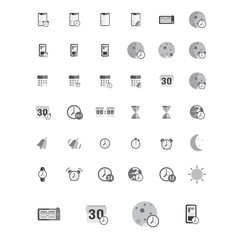 Time icons set. Vector illustration of flat black and white pictogram. Sign and symbols