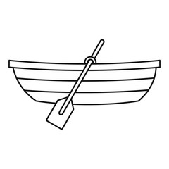 Boat with paddles icon, outline style