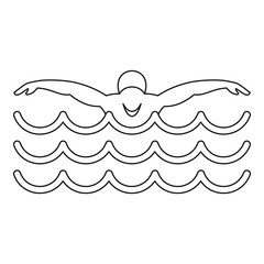 Swimmer icon, simple style