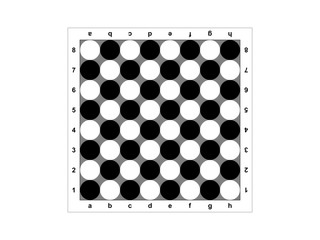The chessboard on a white background